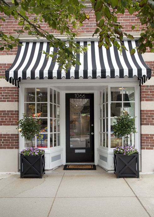 black and white awning