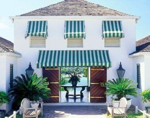 green awning over garage